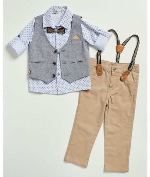 Σετ πουκάμισο γιλέκο παντελόνι παπιγιόν Hastag αγόρι 214813