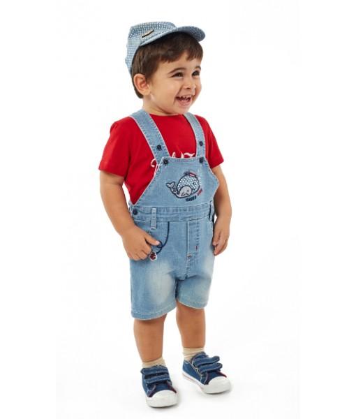 Σετ σαλοπέτα μπλούζα καπελάκι Hastag αγόρι 214619