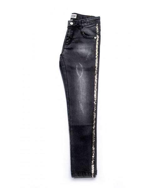 Παντελόνι μακρύ τζιν Joyce κορίτσι μαύρο 90065