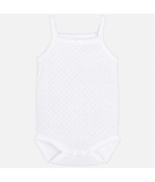 Κορμάκι τιράντες λευκό Mayoral baby κορίτσι 29-00168-070