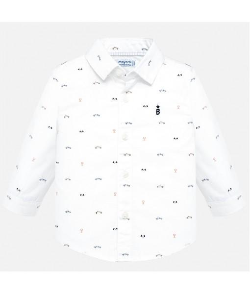 Πουκάμισο μακρυμάνικο σταμπωτό Mayoral αγόρι λευκό 19-02115-041