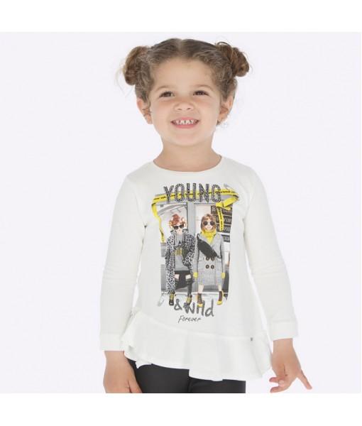 Μπλούζα μακρυμάνικη βολάν ασύμμετρο Mayoral κορίτσι εκρού 19-04015-036