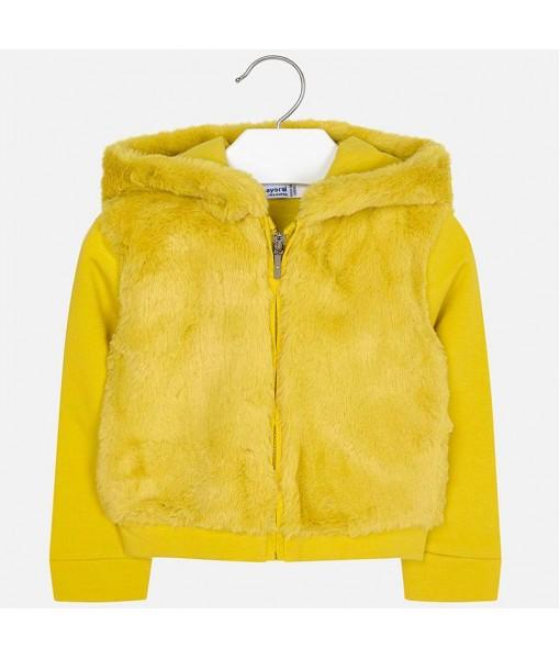 Ζακέτα φούτερ γουνάκι Mayoral κορίτσι κίτρινο 19-04424-066