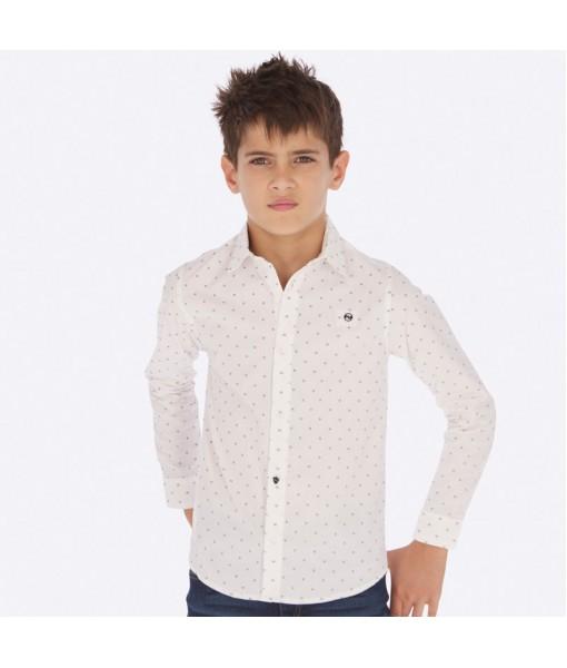 Πουκάμισο μακρυμάνικο σταμπωτό αγόρι λευκό 19-07116-022