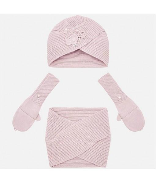 Σετ σκούφος, κασκόλ και γάντια Mayoral κορίτσι ροζ 19-10698-023