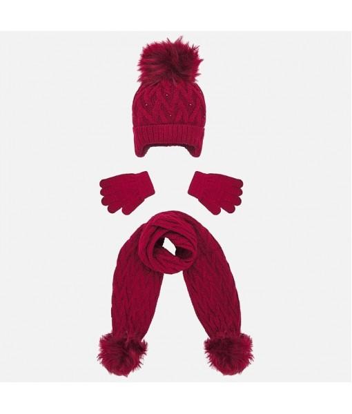 Σετ σκούφος κασκόλ και γάντια Mayoral κορίτσι μπορντό 19-10701-043