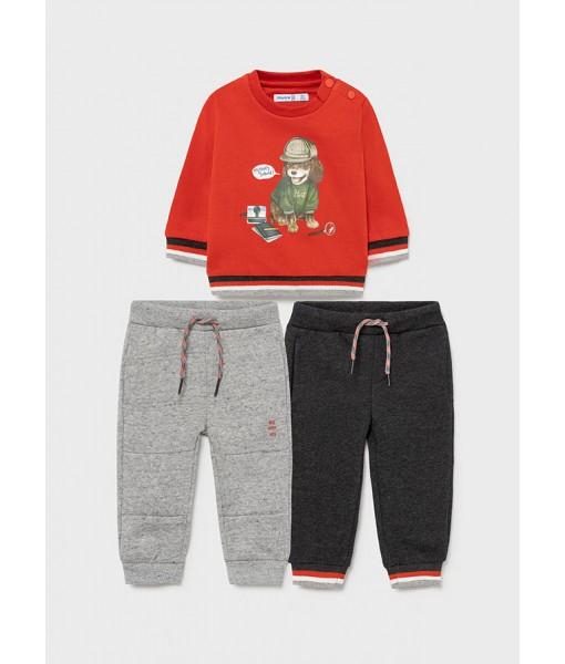 Σετ φούτερ και δύο παντελόνια φόρμες Mayoral baby αγόρι 11-02827-017
