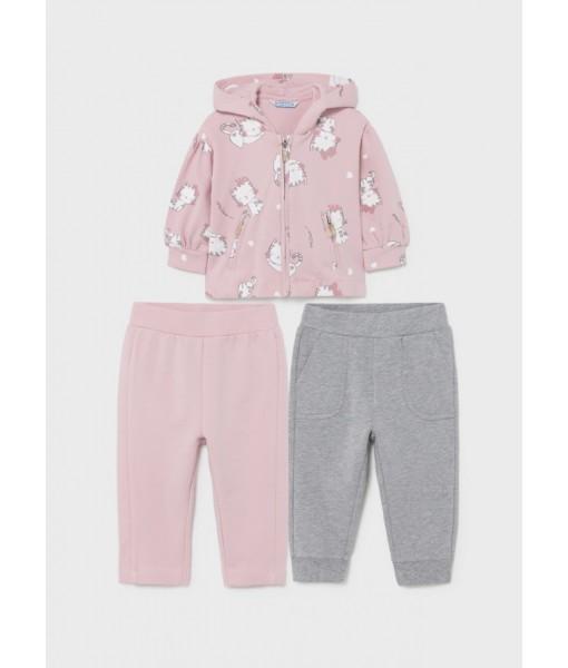 Σετ ζακέτα και 2 παντελόνια φόρμες Mayoral baby κορίτσι 11-02895-032