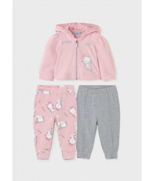 Σετ ζακέτα και 2 παντελόνια φόρμες Mayoral baby κορίτσι 11-02896-042