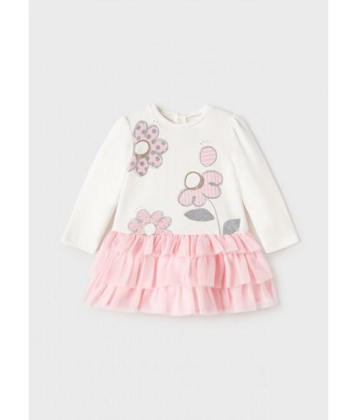 Φόρεμα συνδυασμένο τούλι Mayoral baby κορίτσι 11-02915-056