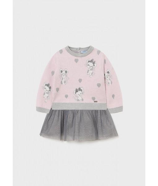 Φόρεμα τούλι πλεκτό Mayoral baby κορίτσι 11-02923-027