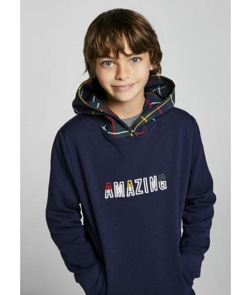 Μπλούζα Φούτερ μακρυμάνικη κουκούλα καρό Mayoral junior αγόρι 11-07406-073