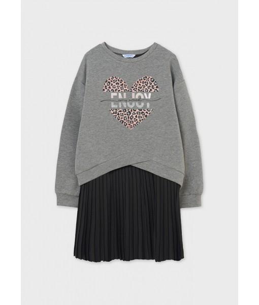 Φόρεμα συνδυασμένο καρδιά  μακρυμάνικο junior κορίτσι 11-07924-069