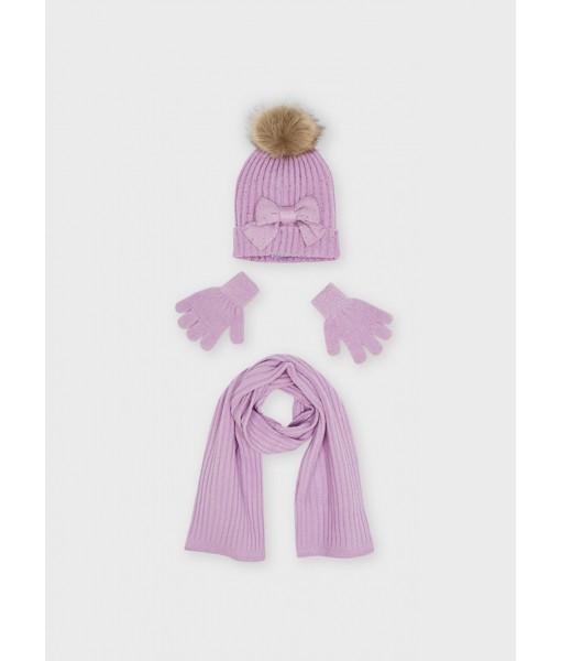 Σετ σκούφος κασκόλ γάντια Mayoral κορίτσι 11-10155-085
