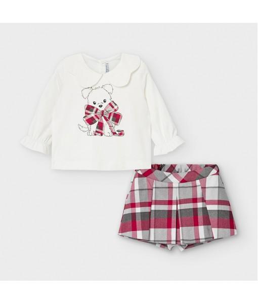 Σετ βερμούδα καρό και μπλούζα baby κορίτσι Mayoral 10-02220-002