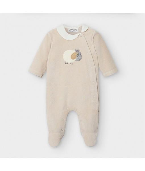 Φορμάκι πιτζαμάκι μακρυμάνικο βελούδο νεογέννητο Mayoral κορίτσι 10-02754-952