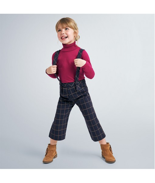 Παντελόνι ζιπ κιλότ με τιράντες Mayoral κορίτσι 10-04551-015