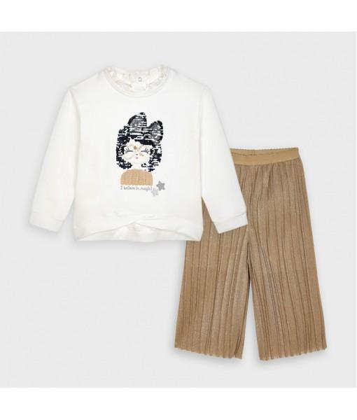 Σετ φούτερ παντελόνι ζιπ κιλότ Mayoral κορίτσι 10-04555-018