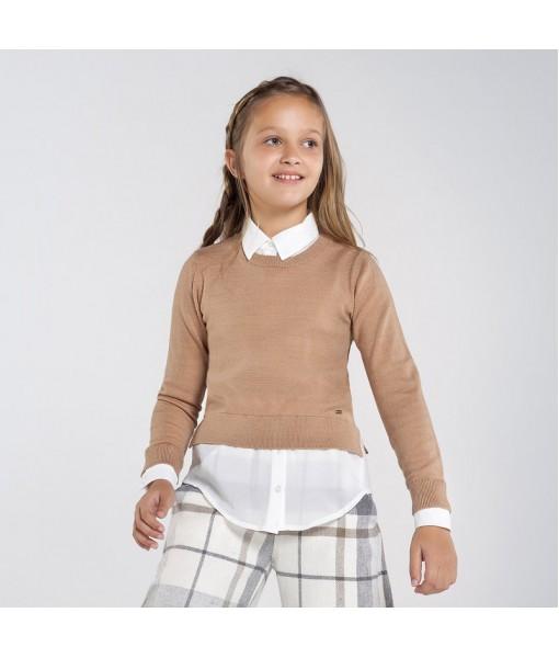 Πουλόβερ ζέρσεϋ συνδυασμένο γάζα Mayoral κορίτσι 10-07329-054