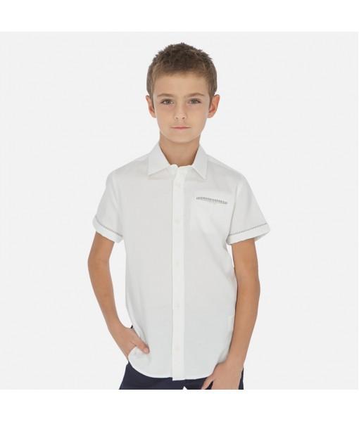 Πουκάμισο κοντομάνικο λευκό Mayoral αγόρι 20-06147-040