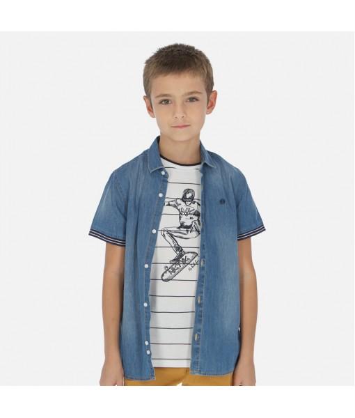 Πουκάμισο κοντομάνικο τζιν αγόρι Mayoral 20-06150-005
