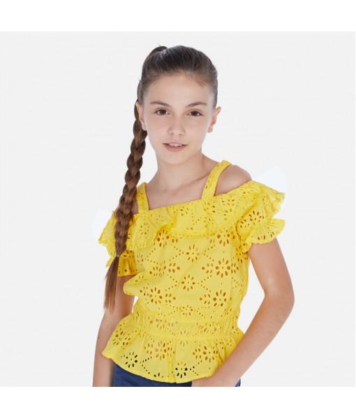 Πουκαμίσα διάτρητη κίτρινη κορίτσι Mayoral 20-06169-092