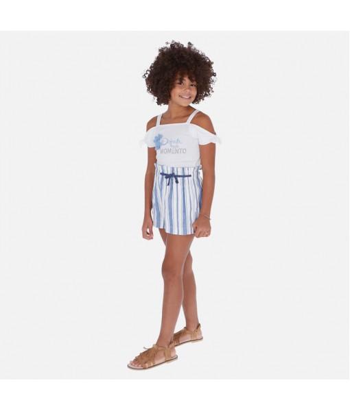 Παντελόνι κοντό λινό ρίγες κορίτσι Mayoral 20-06256-019