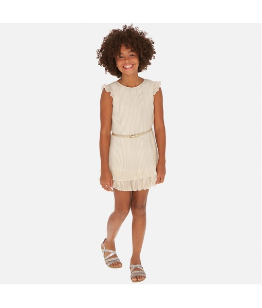 Φόρεμα γάζα πιέτες κορίτσι σαμπανιζέ Mayoral 20-06970-002