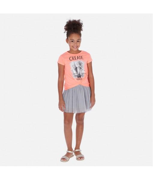 Φόρεμα συνδυασμένο σχέδιο κορίτσι Mayoral 20-06986-051