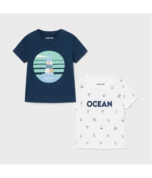 Σετ 2 μπλούζες κοντομάνικες baby αγόρι Mayoral 21-01008-018