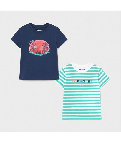 Σετ 2 μπλούζες κοντομάνικες baby αγόρι Mayoral 21-01015-086