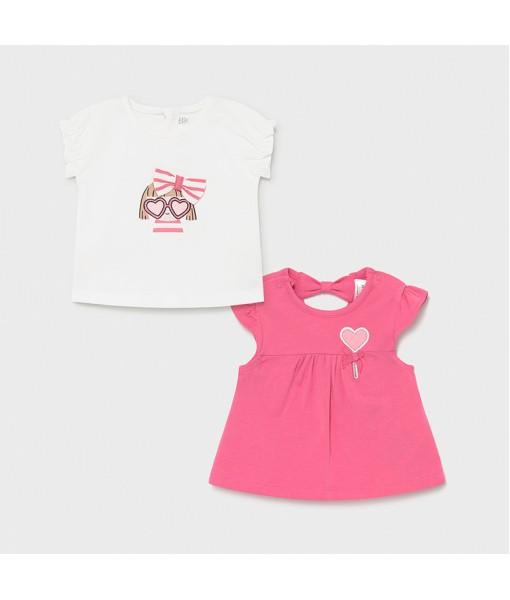 Σετ 2 μπλούζες κοντομάνικες Νεογέννητο κορίτσι Mayoral 21-01072-047