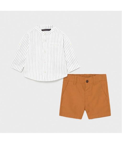 Σετ βερμούδα πουκάμισο γιακάς μάο baby αγόρι Mayoral 21-01251-025
