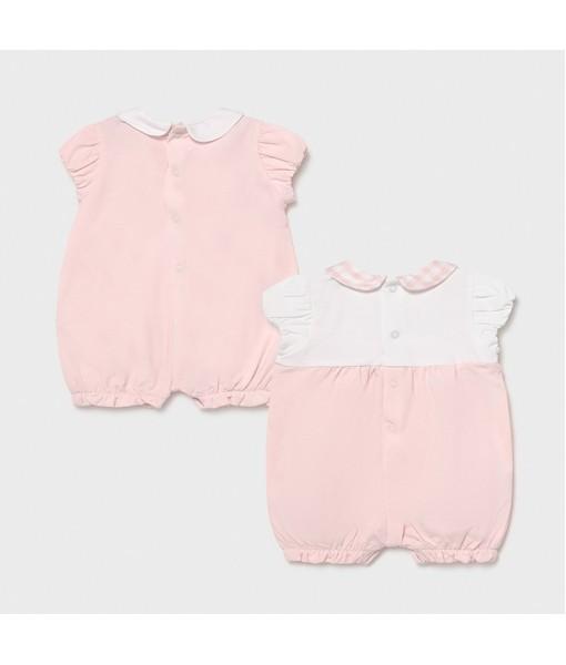 Σετ 2 φορμάκια πυτζαμάκια κοντά νεογέννητο κορίτσι Mayoral 21-01606-065