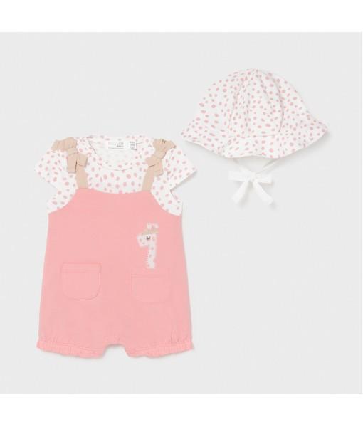 Φορμάκι κοντό με καπέλο νεογέννητο κορίτσι Mayoral 21-01613-055