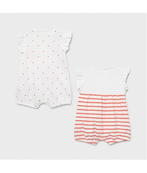 Σετ 2 φορμάκια πυτζαμάκια κοντά νεογέννητο κορίτσι Mayoral 21-01616-075