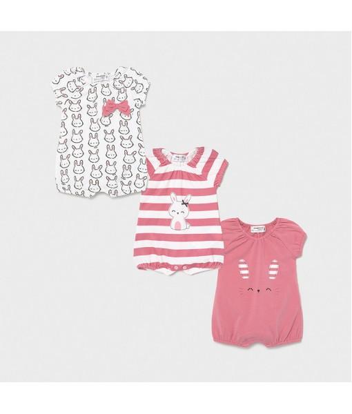 Σετ 3 φορμάκια πυτζαμάκια κοντά νεογέννητο κορίτσι Mayoral 21-01617-091