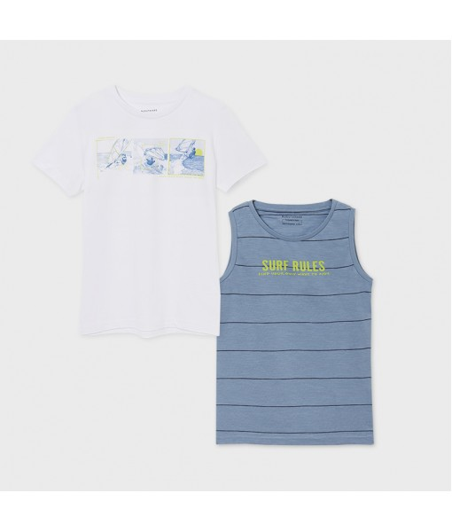 Σετ 2 μπλούζες κοντομάνικη και τιράντες μακό αγόρι Mayoral 21-06083-073