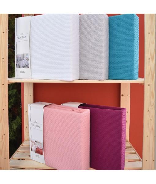 3075 Κουβέρτα Πικέ 100% Cotton 2 διαστάσεων 5 Xρώματα - Petrol, 180x240