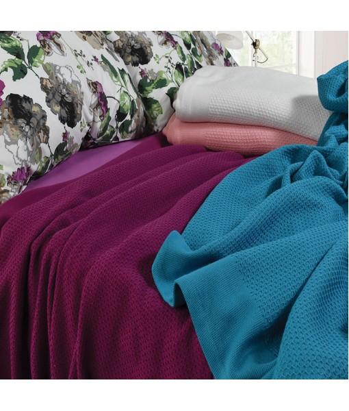 3075 Κουβέρτα Πικέ 100% Cotton 2 διαστάσεων 5 Xρώματα - Petrol, 230x240