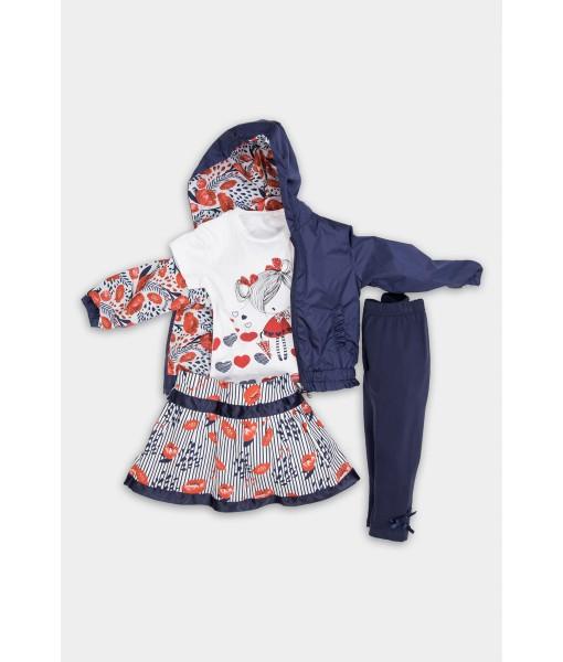 Σετ αντιανεμικό μπλούζα κολάν φούστα κορίτσι New College  32-10627